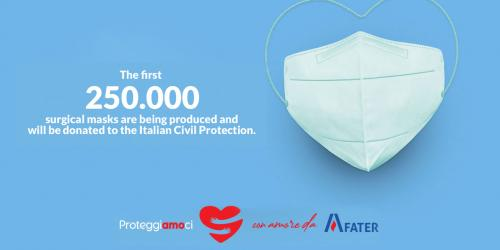 Fater will make 250,000 masks to be donated to the Civil Protection